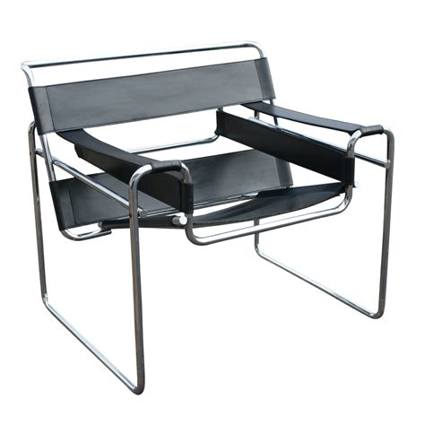 Vintage Knoll Wassily Marcel Breuer Black Leather Chair   eBay