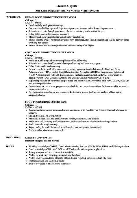 Food Production Supervisor Resume food production supervisor resume sles velvet