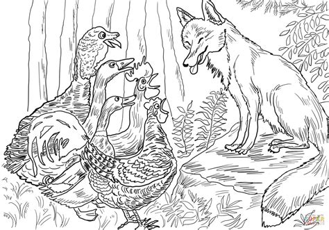 birds fox henny penny coloring free printable coloring pages