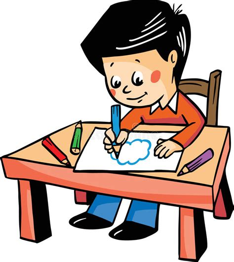 at the table vector illustration with a boy drawing at the table stock