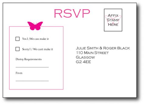 wedding rsvp layout butterfly postcard style rsvp cards vintage wedding