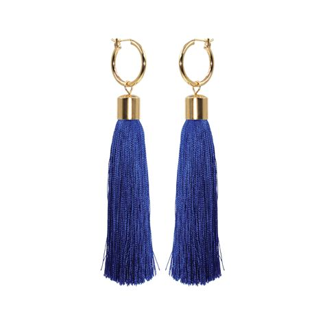 Anting Tassel Black I You on the fringe hoop tassel earrings available in 5 different colors melody ehsani