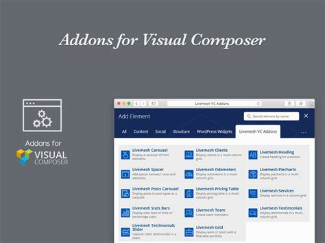 themes wordpress visual composer addons for wpbakery page builder pro livemesh themes