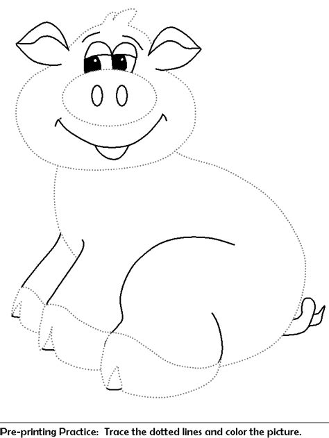 pig coloring page preschool pre print practice worksheet trace the dotted lines pig