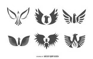 flat phoenix bird logo set vector download