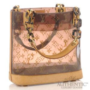 louis vuitton ambre bucket handbag brown clear plastic
