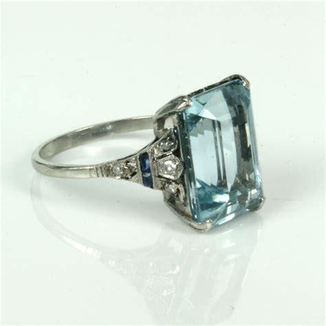 aquamarine deco ring buy deco aquamarine ring in platinum sold items sold