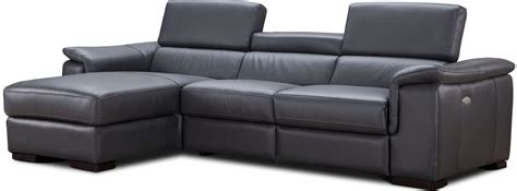 gray leather reclining sofa allegra slate gray leather power reclining laf sectional