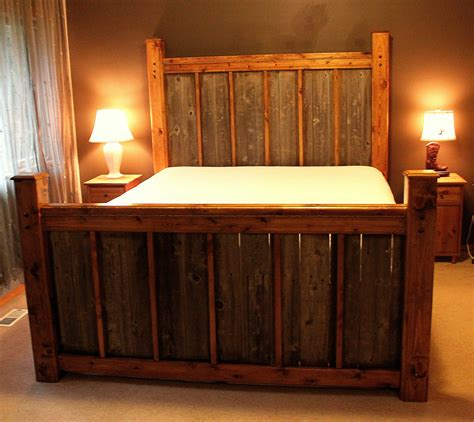 custom rustic wood bed frame headboard by rusticranchoutfitter