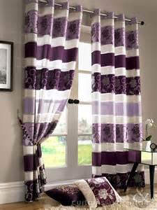 Apple Curtains Jasmine Floral Embroidered Aubergine Purple Voile Eyelet