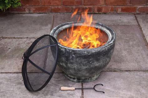 granite effect clay bowl patio heater pit garden