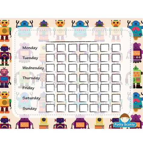 free robots potty calendar potty scotty