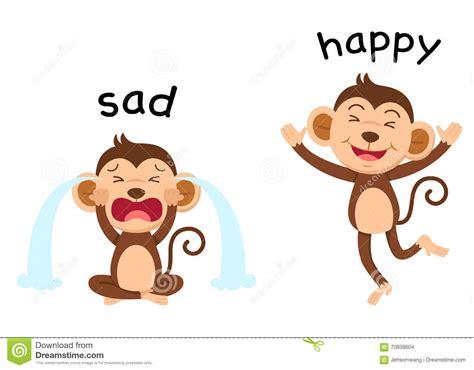 imagenes de feliz cumpleaños tristes palabras opuestas tristes y vector feliz ilustraci 243 n del