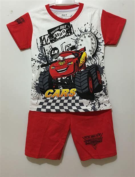 Setelan Baju Anak Cowok Mported Disney 1 setelan car mcqueen truck 1 6 grosir