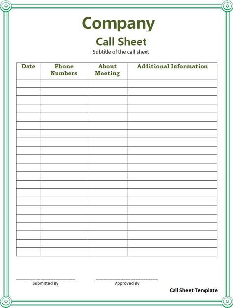 Daily Call Sheet Template sheet templates free word s templates