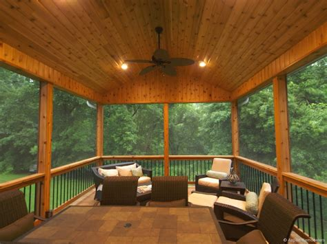 rustic porch with screened porch knotty pine ceiling