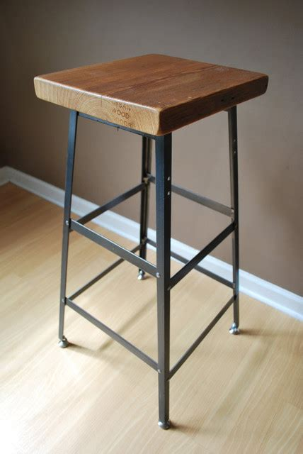 Reclaimed Wood Bar Stool Reclaimed Wood And Steel Industrial Shop Stool By Wood Goods Traditional Bar Stools