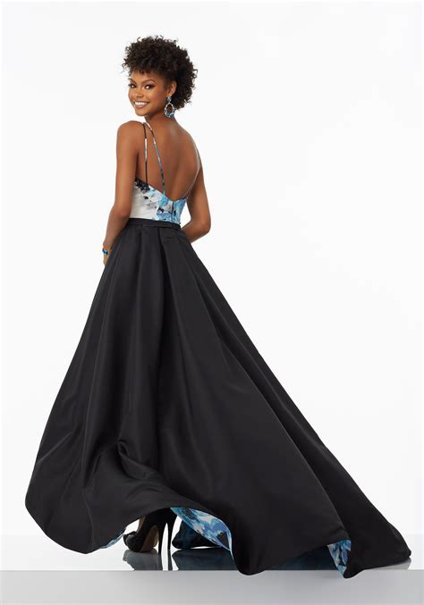 floral printed taffeta   prom dress style