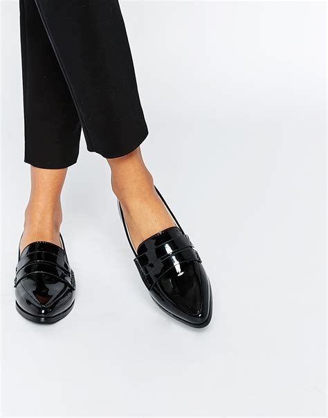 pointed toe loafer flats patent pointed toe loafer flat shoes in black