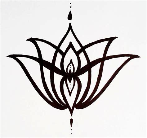 temporary tattoo elegant lotus flower hand drawn geometric