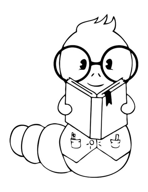coloring pages book worm bookworm batch coloring