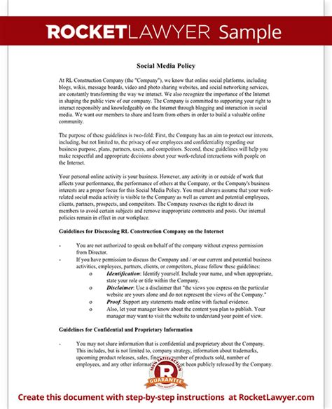 employee social media policy template social media policy template company social media policy