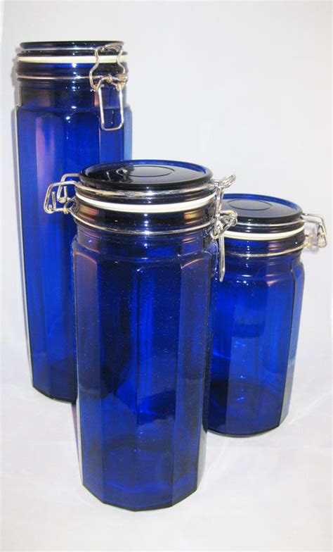 cobalt blue kitchen canisters cobalt blue canisters vacuum sealed jars 8 quot 10 quot 13 quot tall vacuums cobalt blue and jars