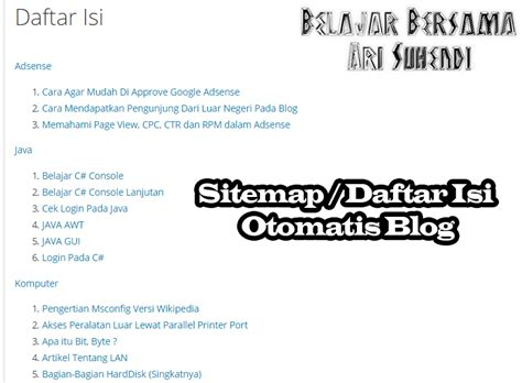 Membuat Daftar Isi Otomatis Di Blog | cara membuat sitemap daftar isi otomatis di blog 2016