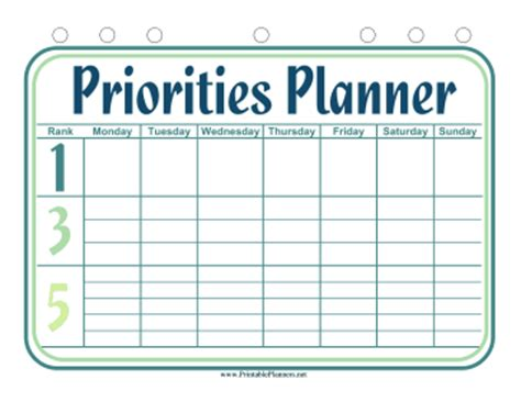 weekly priorities template 1 3 5 weekly planner