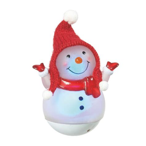 lighted roly poly mini snowman acrylic lighted figurine