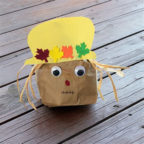 Paper Bag Scarecrow Craft For Preschoolers - paper bag scarecrow family crafts