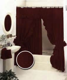 Details about burgundy bath ruffle fabric shower curtain set valance