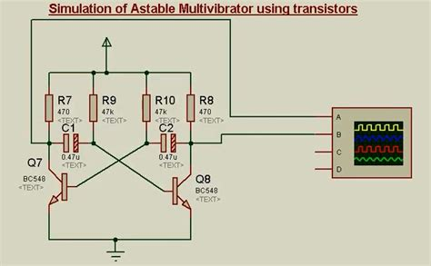 circuit diagram of astable multivibrator transistor circuits in proteus as switch bistable