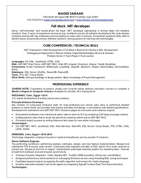 sle resume for dot net developer experience 5 years maged samaan sr fullstack net developer cv