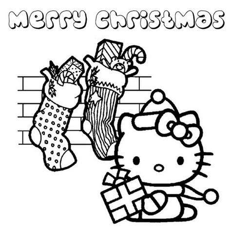 hello kitty santa coloring page lots of christmas presents from santa claus for hello