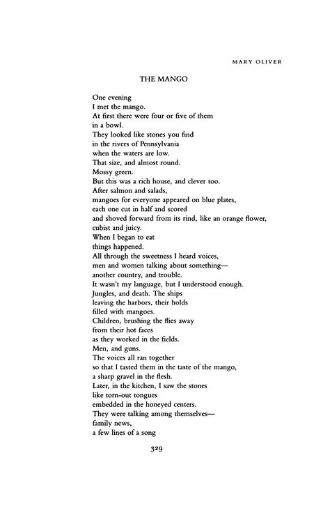 The Mango by Mary Oliver   Poetry Magazine