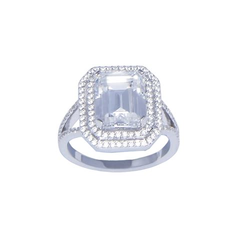 emerald cut cubic zirconia ring gargash