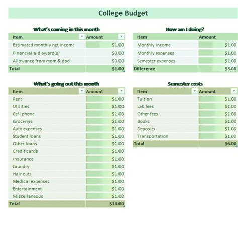 College student budget for Microsoft Excel
