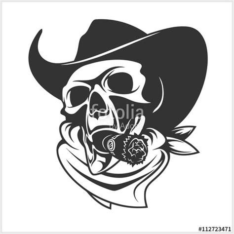 Kaos Racing Skull 1 quot skull in cowboy hat and cigar quot stock image and royalty