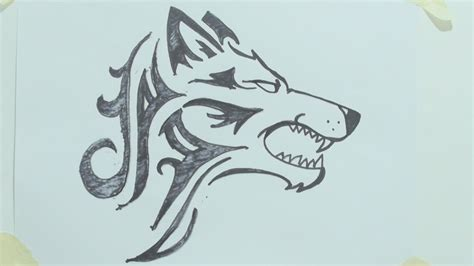 tribal tattoo sketch simple drawing of a wolf how to draw a tribal wolf