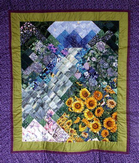 waterfall garden quilt tapestry textile by hornsby