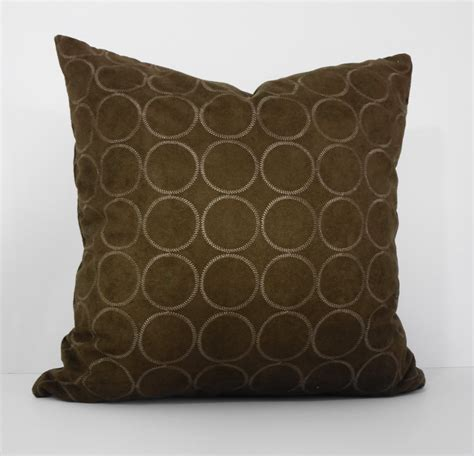 brown patterned cushions brown suede decorative pillow cover geometric circles throw