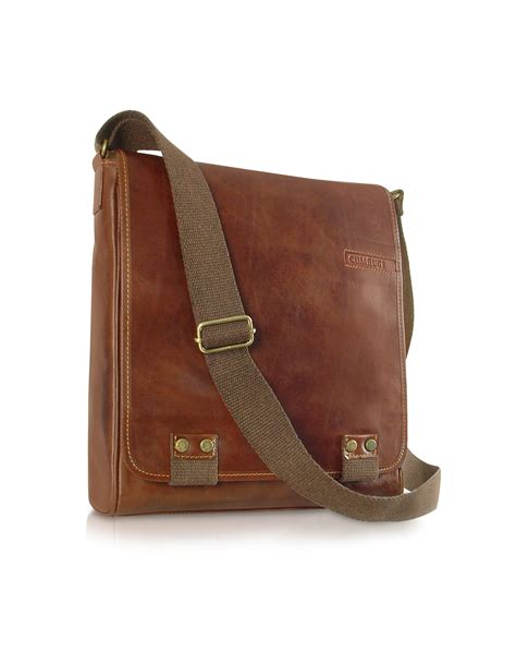 chiarugi handmade brown genuine leather crossbody bag in