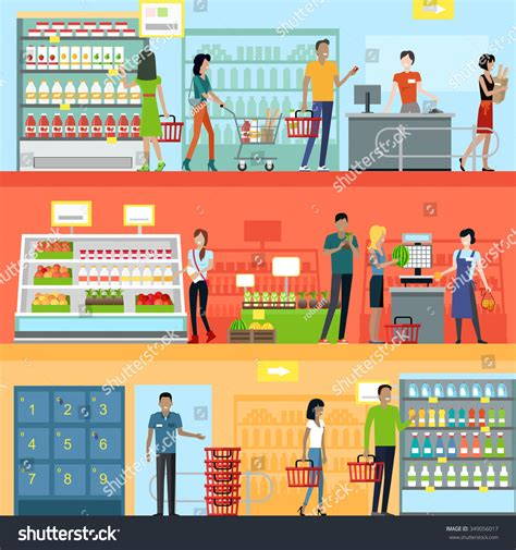 supermarket layout and marketing people supermarket interior design people shopping stock