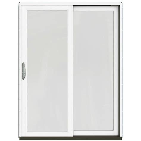 Jeld Wen Patio Door Hardware Jeld Wen 59 1 4 In X 79 1 2 In W 2500 Chestnut Bronze Right Clad Wood Sliding Patio Door