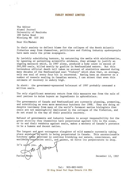 Offer Letter Of Manitoba Um Today Alumni A Letter From Farley Mowat To The Of Manitoba