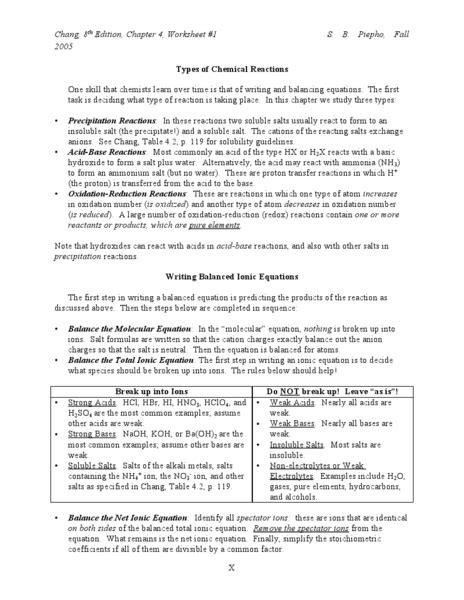 types of chemical reactions worksheet lesson planet ericsylvia pinterest chemical