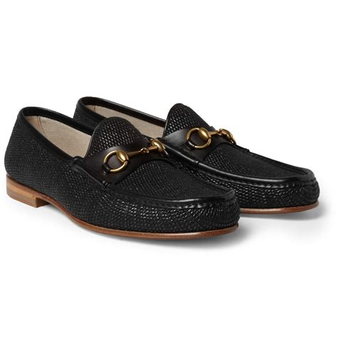 black gucci loafers gucci horsebit raffia and leather loafers in black for