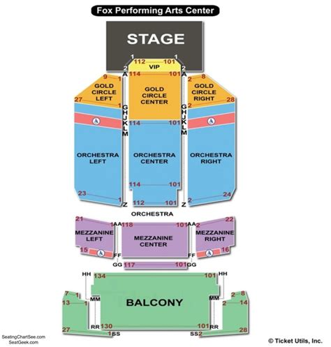 fox performing arts center seating chart seating charts