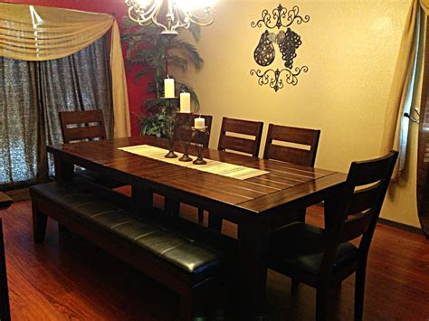 furniture dining table with bench candle holders in